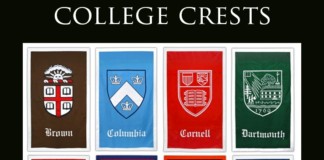 A collage of different college crests with emblems for Brown, Columbia, Cornell, Dartmouth, Harvard, Pennsylvania, Princeton and Yale