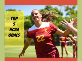"""A close up image of a soccer player running and high fiving teammates with text to the left that says, """"Top 5 NCAA Goals""""op"""