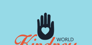 "An illustration with a hand with a heart in drawn in the center with text that says, ""World Kindness Day, Nov. 13"""