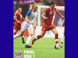 An image of two soccer players going after a ball with a third player in the background with text that says: Final, USA-1, CAN- 1