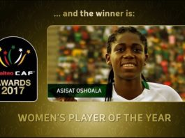 "An up close image of a female soccer player with text, ""and the winnder is Asissat Oshoala, Women's Player of the Year"""