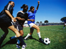 Female Soccer Players Kicking Ball